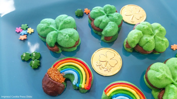 vw Chocolate Mint St. Patrick's Day Sandwich Cookies cookie press spritz © 2018 Impress! Bakeware, LLC.jpg