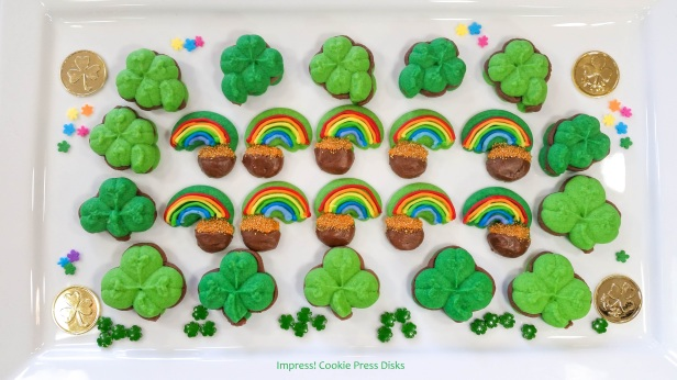 wwm Chocolate Mint St. Patrick's Day Sandwich Cookies cookie press spritz © 2018 Impress! Bakeware, LLC.jpg