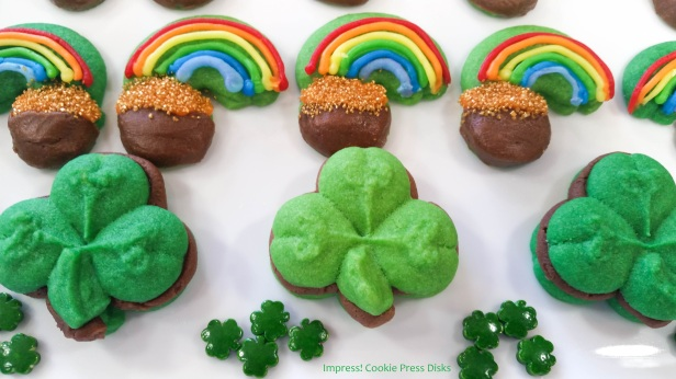 xw Chocolate Mint St. Patrick's Day Sandwich Cookies cookie press spritz © 2018 Impress! Bakeware, LLC.jpg