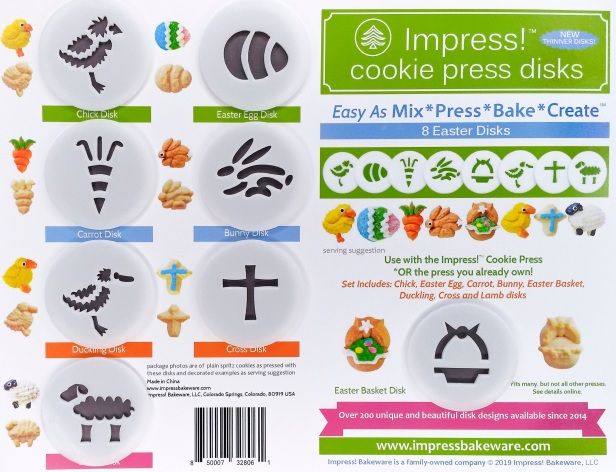 Easter Cookie Press Disk Set spritz © 2019 Impress! Bakeware, LLC