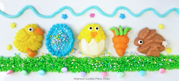 F Easter Cream Cheese Spritz Cookies Chicks Eggs Bunnies Carrots cookie press © 2018 Impress! Bakeware, LLC.jpg