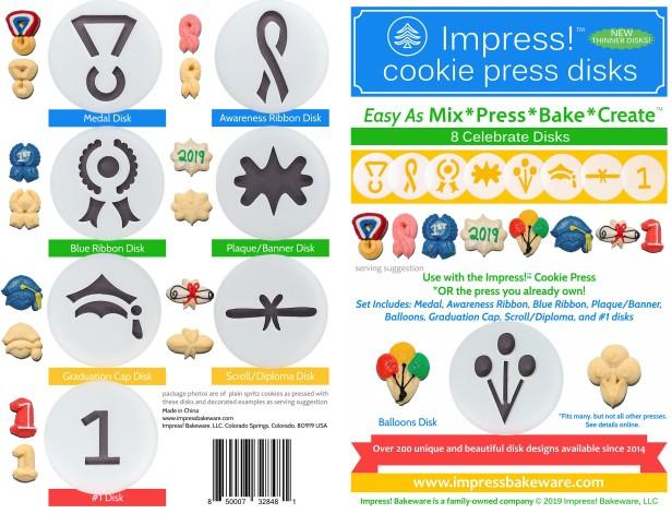 Celebrate Cookie Press Disk Set spritz © 2019 Impress! Bakeware, LLC