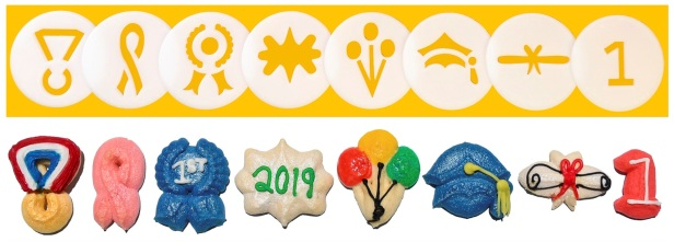 Celebrate! Cookie Press Disk Set spritz © 2019 Impress! Bakeware, LLC H