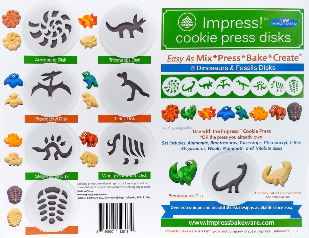 Dinosaurs & Fossils Cookie Press Disk Set spritz © 2019 Impress! Bakeware, LLC