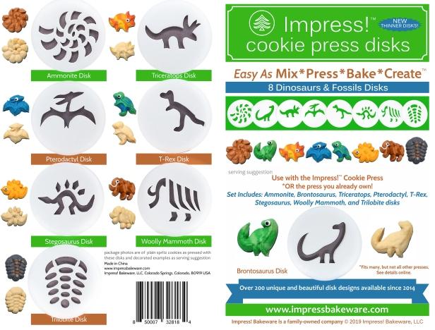 Dinosaurs Press Disk Set spritz © 2019 Impress! Bakeware, LLC