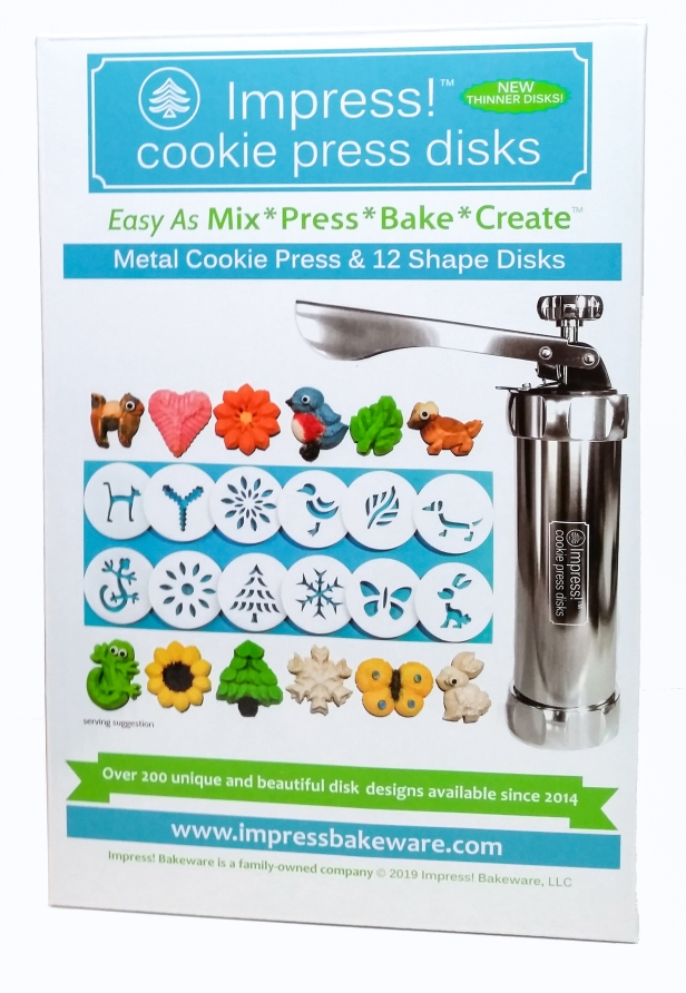 Impress! Bakeware Cookie Press and 12 Disks in box © 2019 Impress Bakeware, LLC a