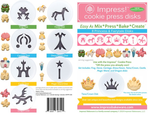 Princess Cookie Press Disk Set spritz © 2019 Impress! Bakeware, LLC