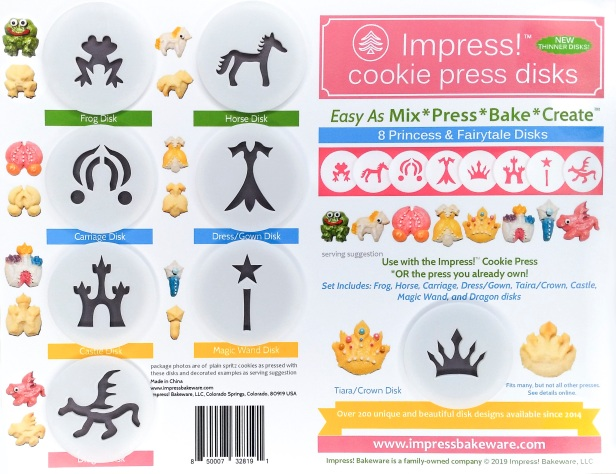 Princess & Fairytale Cookie Press Disk Set spritz © 2019 Impress! Bakeware, LLC