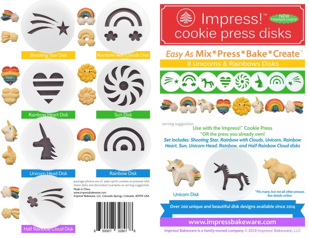 Unicorns & Rainbows Cookie Press Disk Set spritz © 2019 Impress! Bakeware, LLC