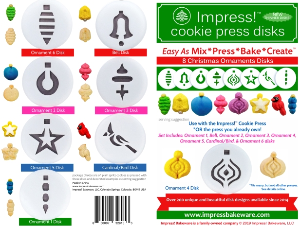 Christmas Ornaments Cookie Press Disk Set spritz © 2019 Impress! Bakeware, LLC