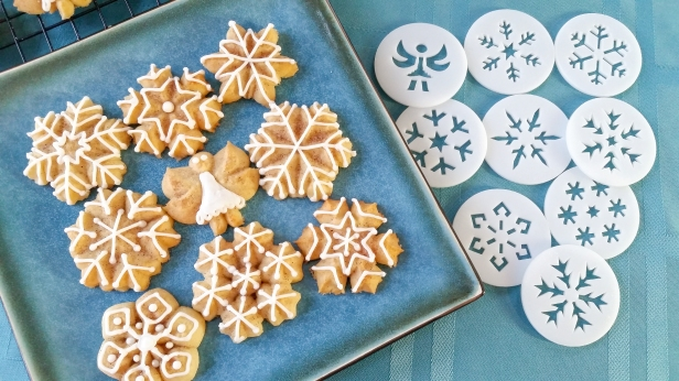 Snickerdoodle Spritz Snowflakes and Angels © 2019 Impress! Bakeware, LLC k.jpg