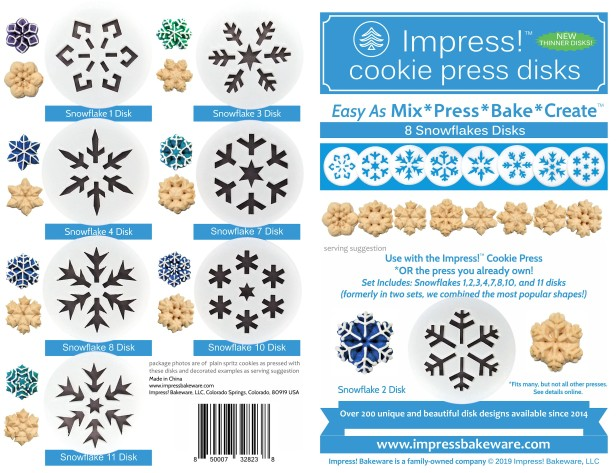 Snowflakes Cookie Press Disk Set spritz © 2019 Impress! Bakeware, LLC