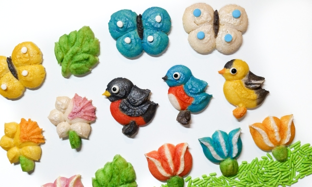 Spring Spritz Cookies flowers birds butterflies leaves AB © 2020 Impress! Bakeware, LLC