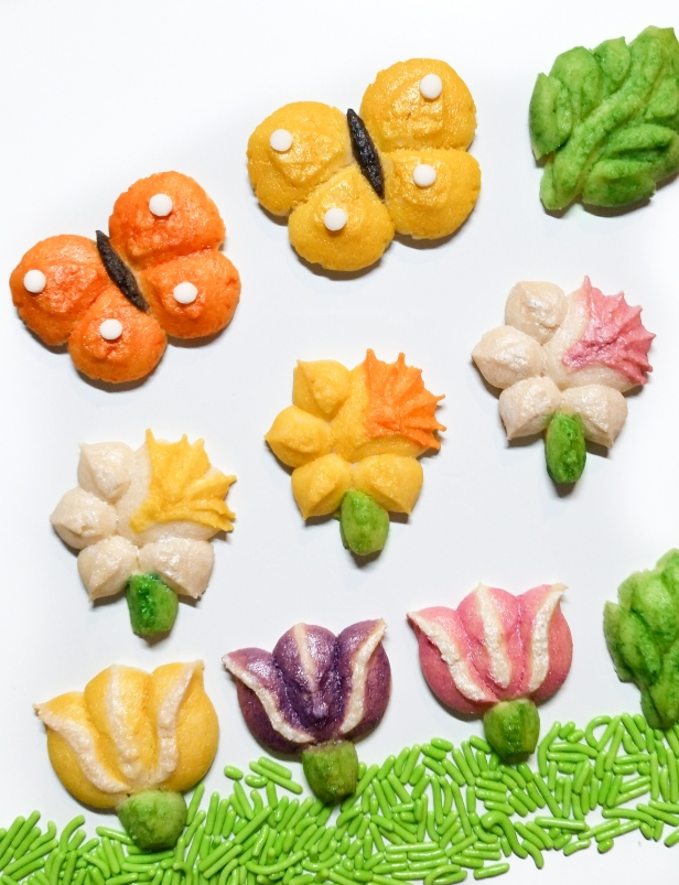 Spring Spritz Cookies flowers birds butterflies leaves AC © 2020 Impress! Bakeware, LLC