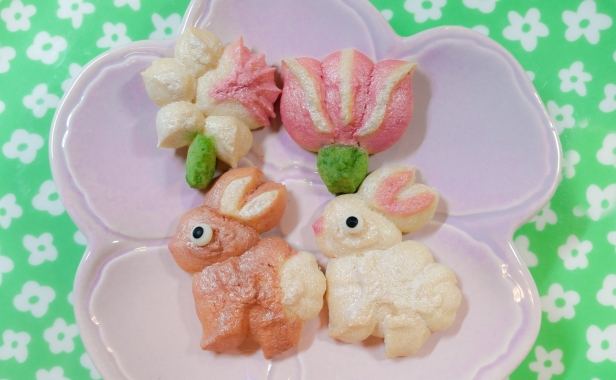 Spring Spritz Cookies flowers daffodil tulip bunny © 2020 Impress! Bakeware, LLC